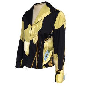 Nygard Black Green Floral Zip Cropped Jacket 12P